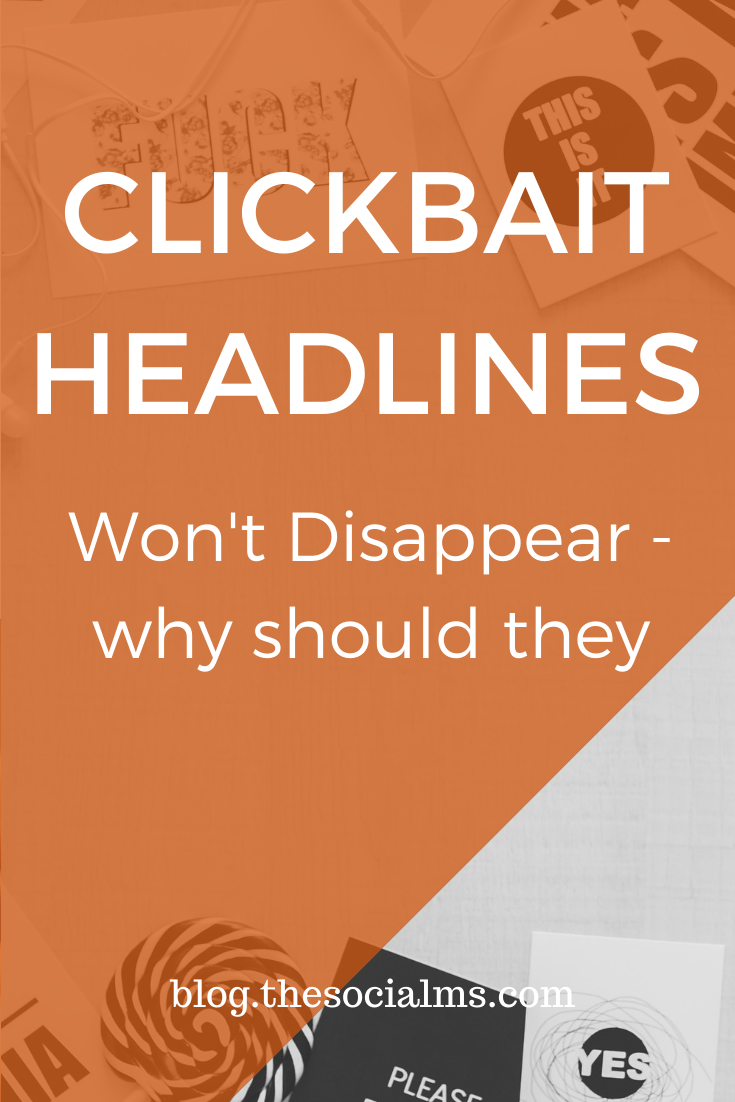 "Clickbait is an optimization strategy, not a crime that should be punished. It's not ""cheating"" and it will always exist. and you should know about clickbait headlines and use them for your content. #headlines #bloggingtips #blogcontent #blogwriting #contentcreation #blgpostwriting #blogpostcreation"