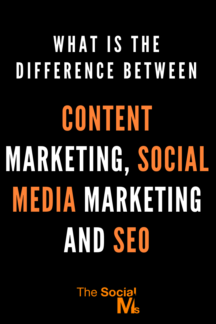 the three areas of content marketing, social media marketing and SEO are related but no, they are not the same! Here is how they are different and how they are connected #contentmarketing #seo #socialmediamarketing #digitalmarketing #onlinemarketing #marketingstrategy #smallbusinessmarketing