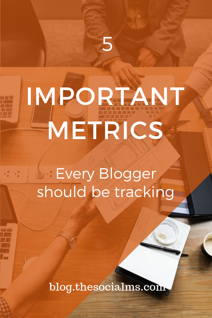 5 important metrics every blogger should be tracking. I'll cover how to get your hands on the relevant metric and how it can be used to improve and grow your blog. #blogmetrics #bloganalyics #bloggingmetrics #marketingmetrics #marketingdata #monitoring