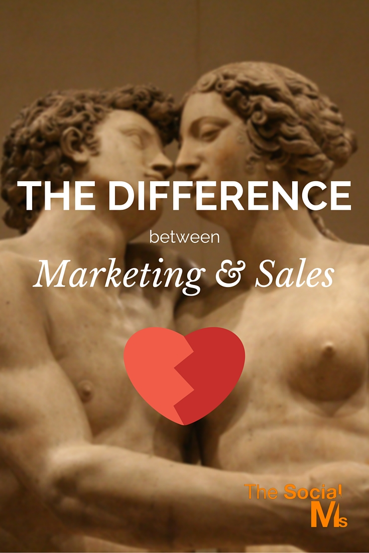 There is not only a difference between marketing and sales, they are totally different functions within a business.
