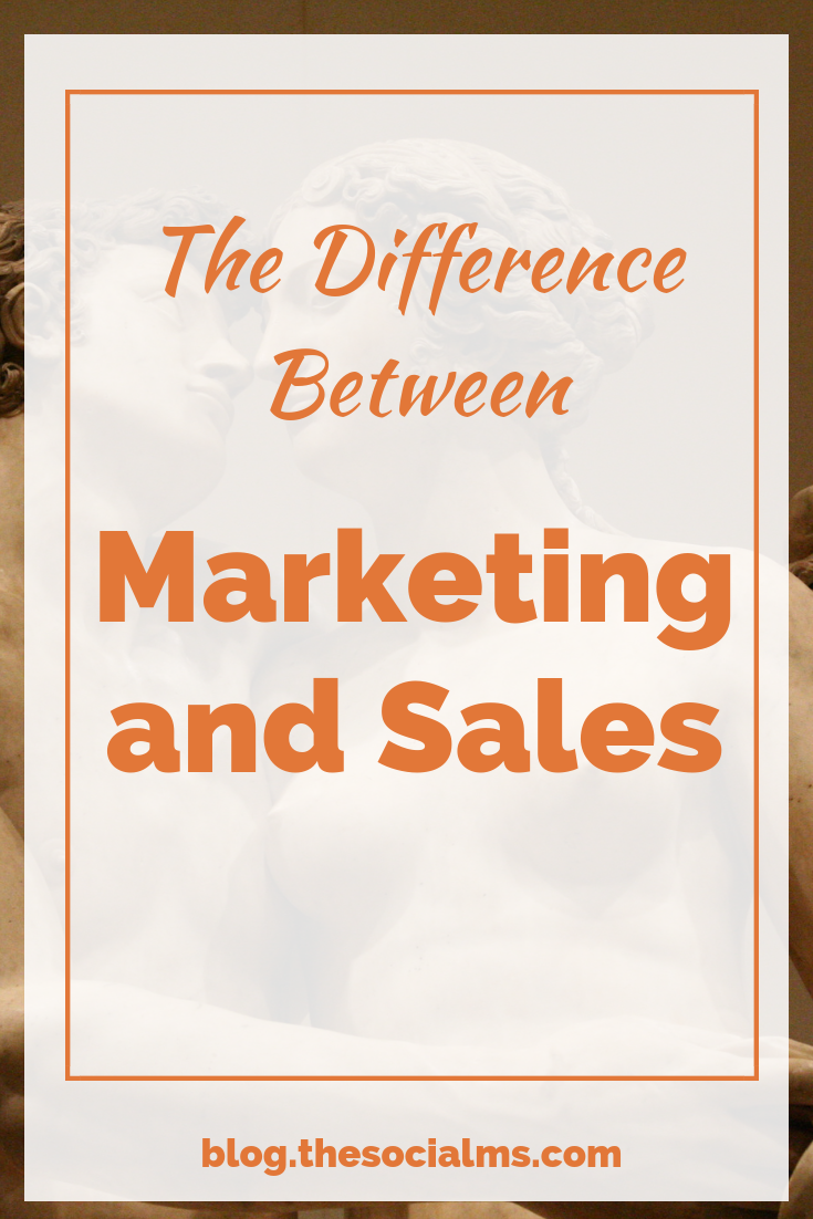 Is there a difference between marketing and sales? Of course, there is. The two go hand in hand but it is dangerous for your business success not to see the difference – and the connections. #smallbusinessmarketing #makingsales #entrepreneuship