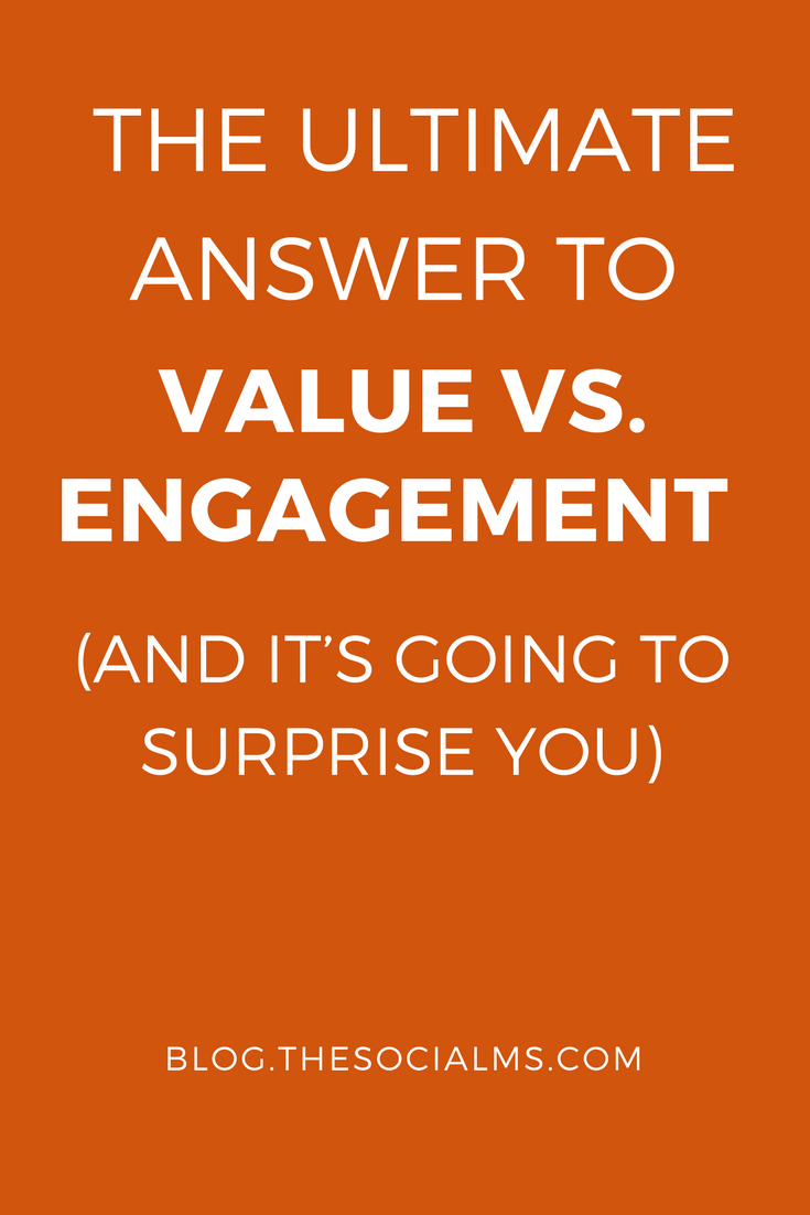 Are you a social media marketer? Great. Let's ask what is more important for your audience: Value or Engagement?