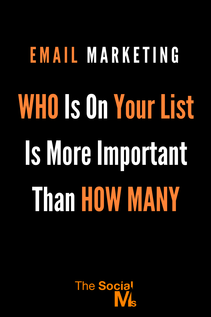 It is not the number of addresses in your email list that makes or breaks your marketing success. You have to make sure that you have the right people on your mail list. #emailmarketing #emaillist #listbuilding #newslettermarketing #onlinebusiness #smallbusinessmarketing #onlinemarketing