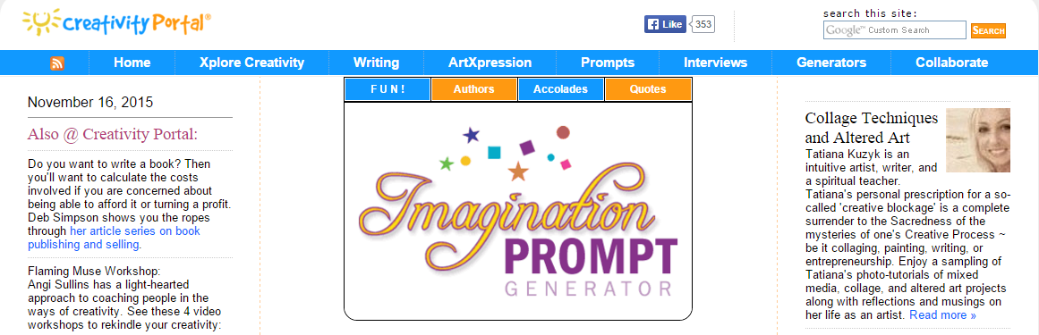 creative writing prompts generator In the first creative writing prompt article, we shared with you 65 creative writing ideas, in the second article, we explored 62 more creative writing prompts, in the third article you will discover a list of 61 writing prompts for kids, and in the fourth article we share 63 more creative writing ideas for kids.