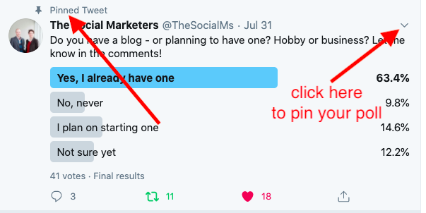 Why and how to pin your Twitter poll to the top of your feed
