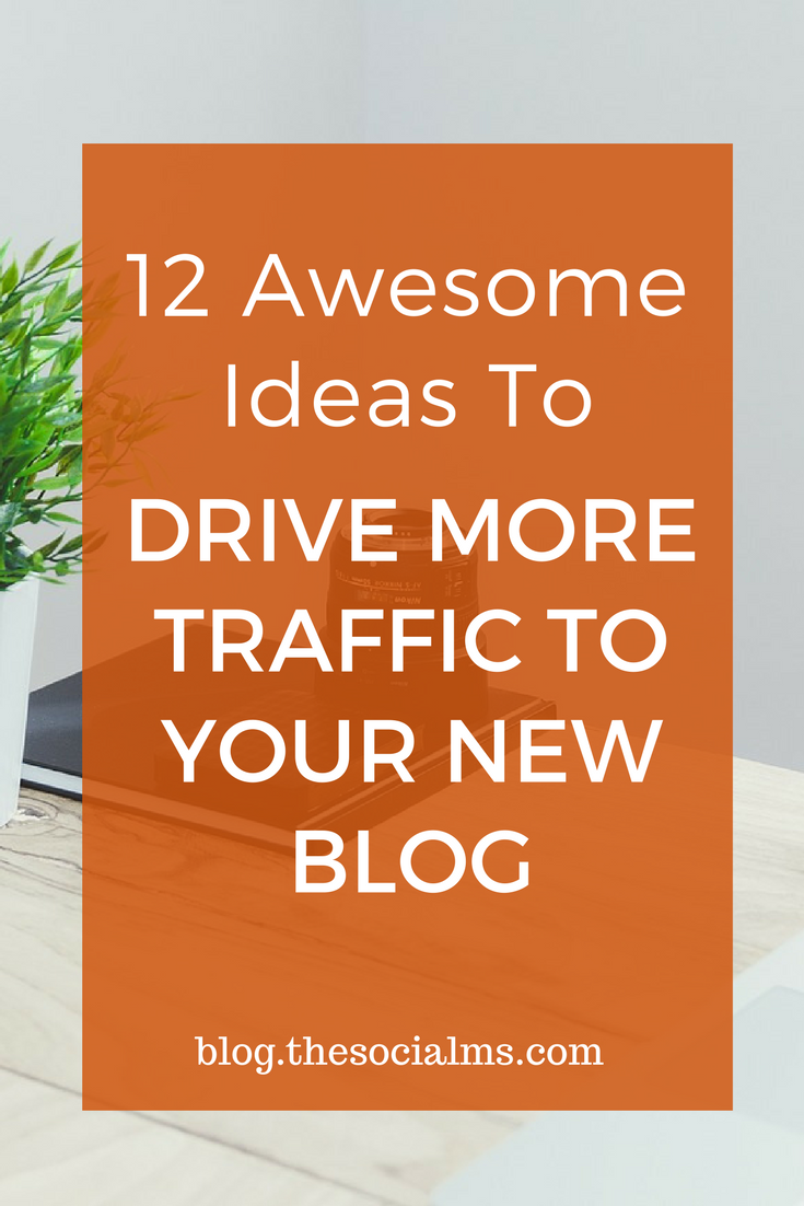 A big challenge for new bloggers is to drive more traffic to a new blog. Here are 12 ideas to help you drive more traffic to your new blog. blogging tips, blog traffic, blogging success