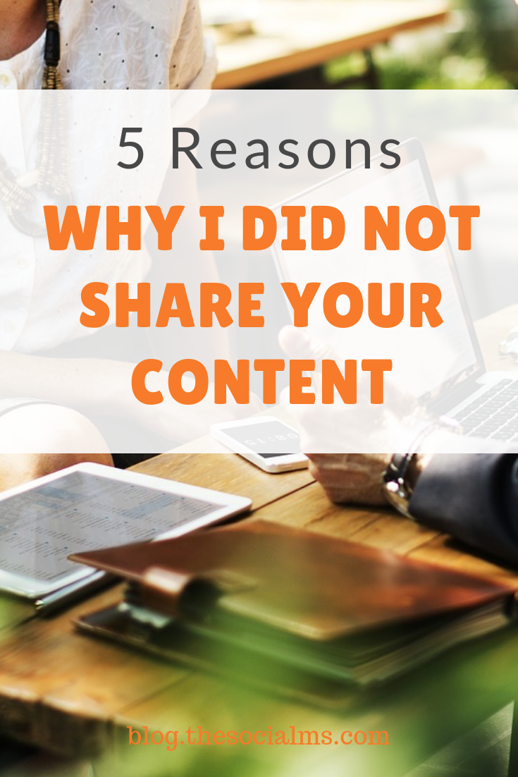 Why do you make it so hard for me to share your content? often I do not share your content for rather mundane reasons. #socialmediamarketing