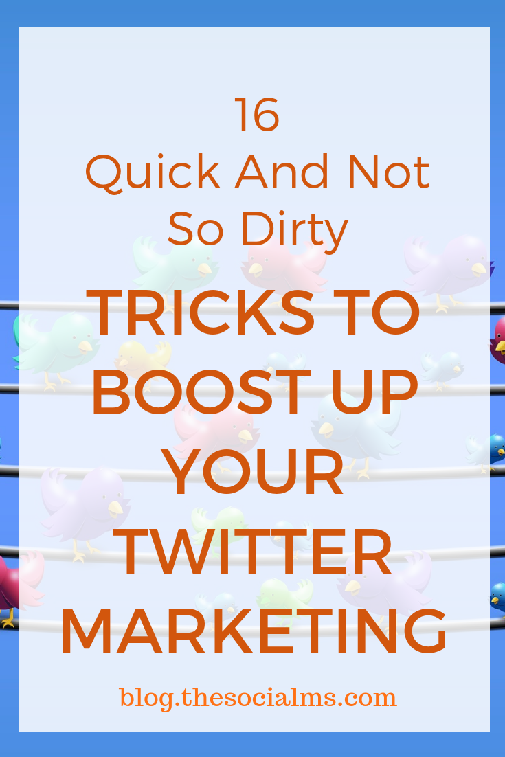 here is a collection of 16 quick tips and tricks to get more out of your Twitter activity. Grow your twitter audience, boost your blog traffic. #twitter #twittertricks #twittertips #twittermarketing #socialmedia