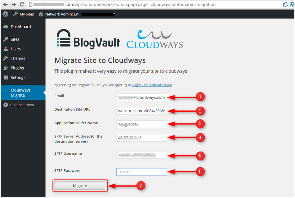 Enter all the required information and click on migrate... that's it!