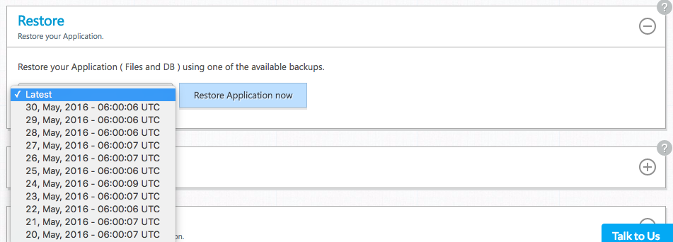 Backups Cloudways, 1 Click RollBack