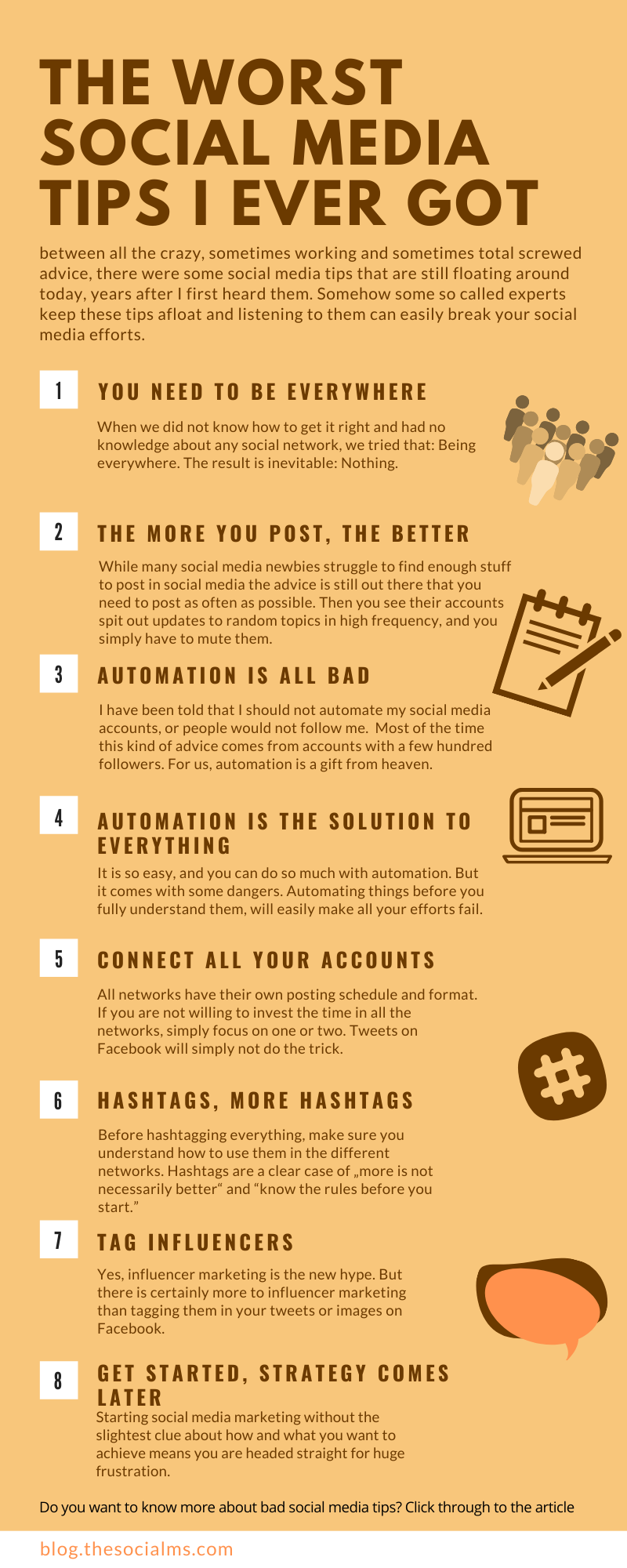 there were some social media tips that are still floating around today, years after I first heard them. Somehow some so called experts keep these tips afloat and listening to them can easily break your social media efforts. #socialmedia #socialmediatips #socialmediamarketing #socialmediamistakes #marketingmistakes #socialmediaadvice
