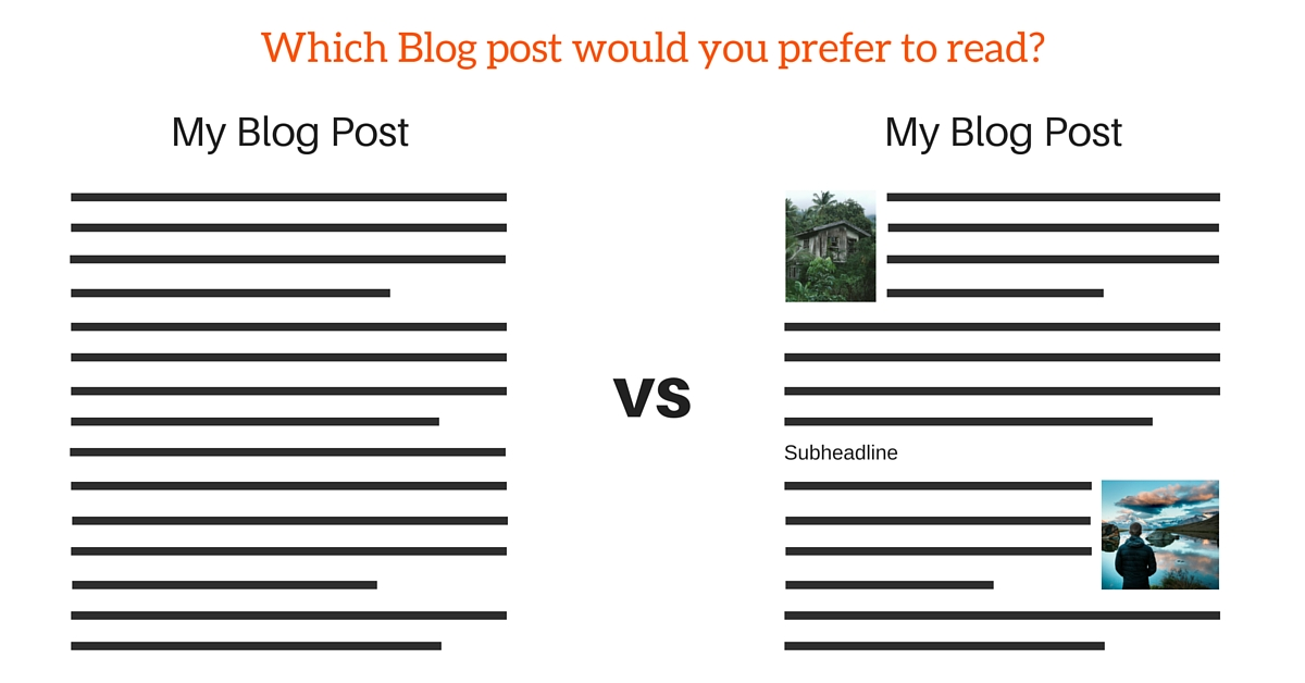 Blog posts with image content are easier to read and more pleasing to the eye.
