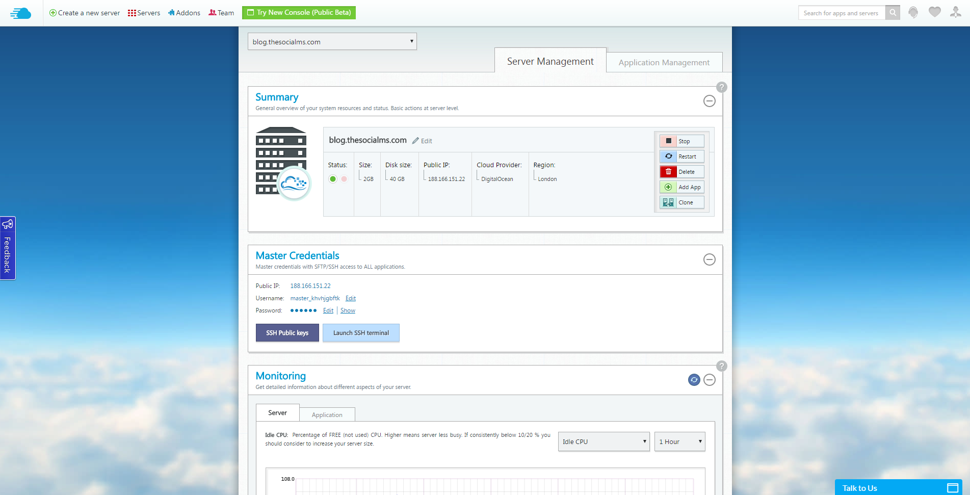 Cloudways user interface allows for easy to understand server management.
