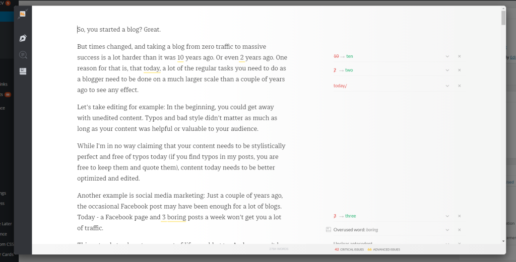 This is how Grammarly looks when opened on a blogpost inside Chrome