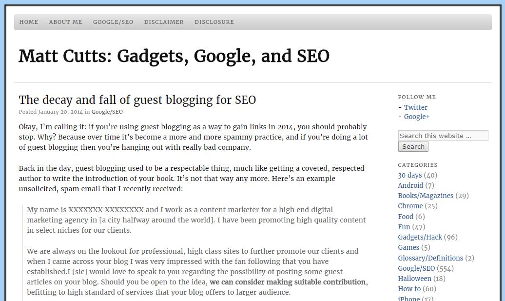 Matt Cutts Guest Blogging