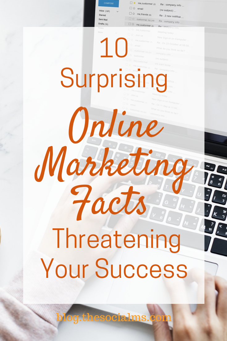 Some online marketing facts come as a surprise. Here are 10 surprising facts you should know to optimize your online marketing efforts. Get your digital marketing strategy on the right track and avoid these marketing and blogging mistakes. Get more traffic to your online business when you avoid these marketing mistakes. #onlinemarketing #digitalmarketing #onlinebusiness #bloggingmistakes