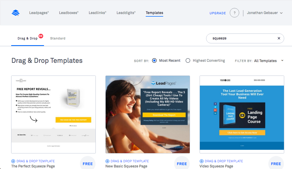 Leadpages Squeeze Pages Templates