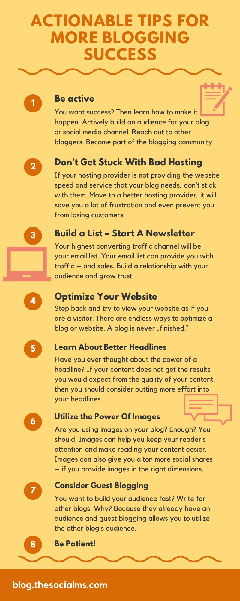 for success, you need to keep your eyes open for new opportunities and best practices, for ideas and better solutions. here are actionable tips for you that you can use to get more out of your blogging efforts. #bloggingtips #blogging101 #bloggingforbeginners #startablog