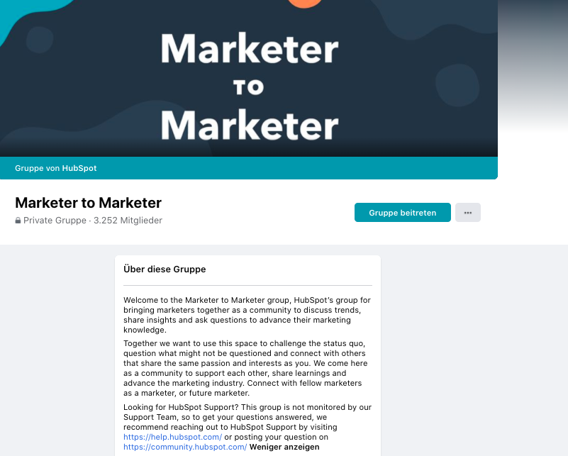 Facebook group hubspot marketers to marketers