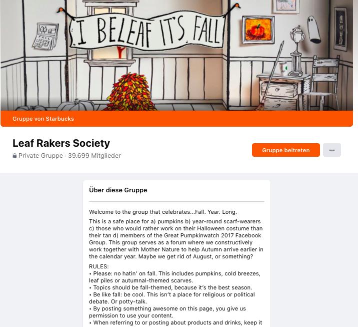 Facebook group leaf rakers society startbucks