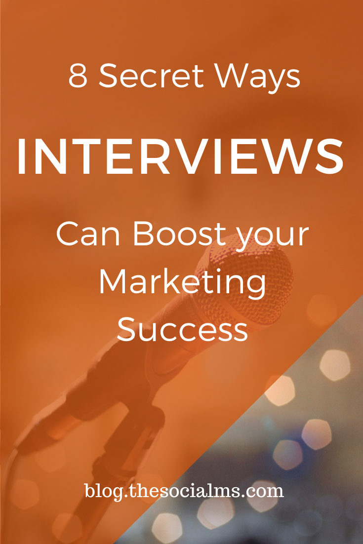 what makes interviews so powerful for social media and content marketing?  Here are my 8 favorite ways interviews can positively impact your content marketing success #interviews #marketingstrategy #contentmarketing #blogpostcreation #blogwriting #contentcreation