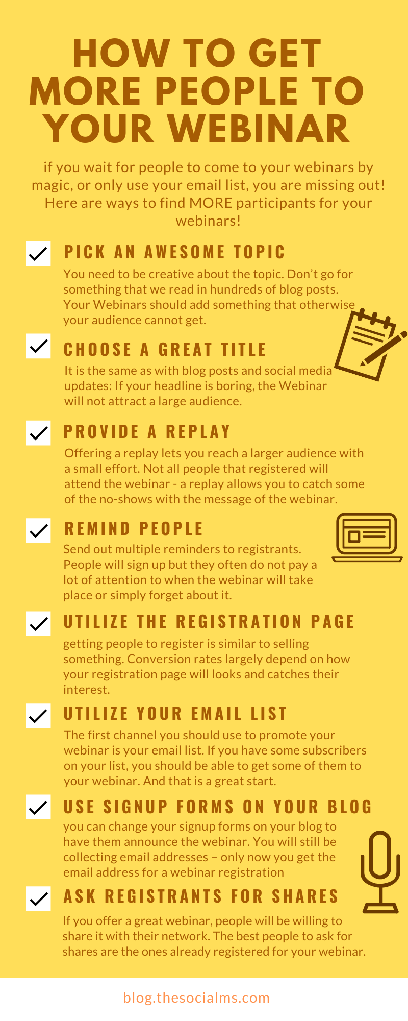 if you sit back and wait for people to come to your webinars by magic, or only fill up your webinars from your email list, you are missing out on one of the most important factors: Getting new people into your tribe.  Here are 14 ways to find participants for your webinars and make sure you get the maximum out of your efforts. #webinar #salesfunnel #leadmagnet #onlinebusiness #makemoneyblogging #bloggingformoney #makemoneyonline