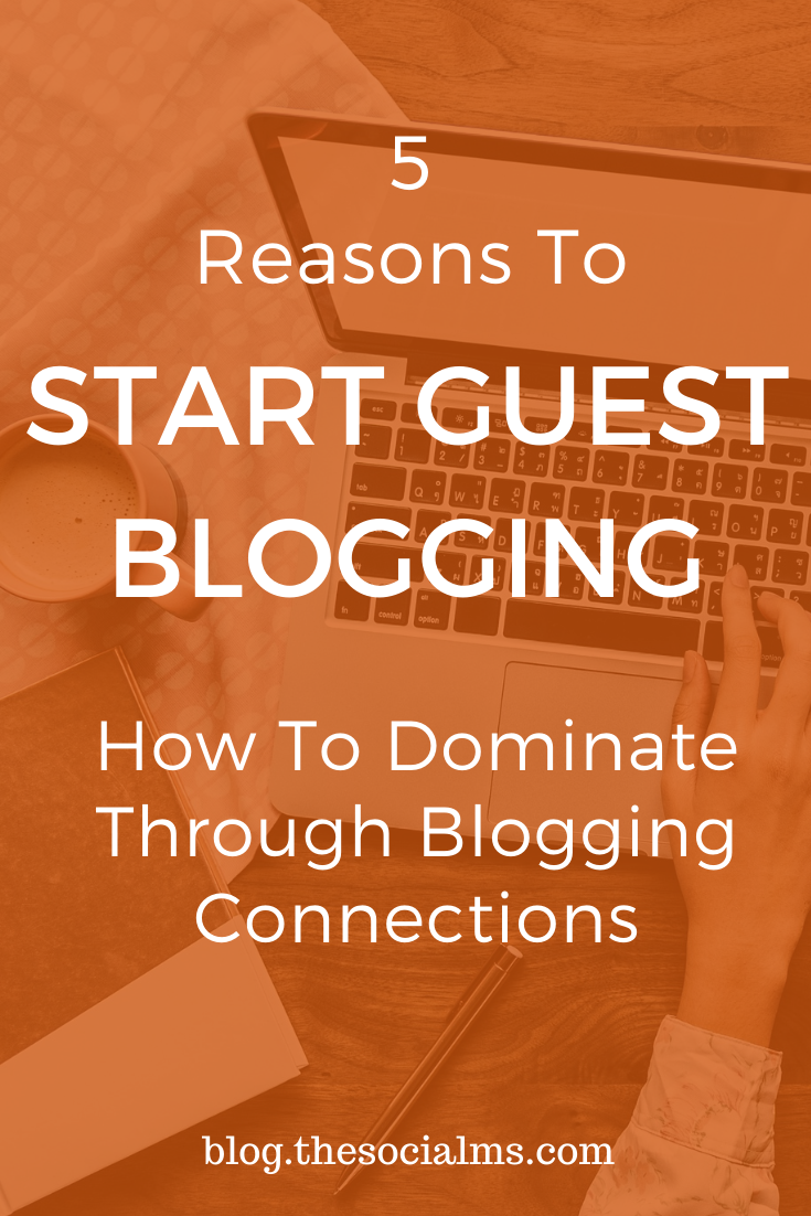 Here are 5 great reasons to start guest blogging. Decide why you are going to create awesome guest posts and optimize your posts and everything around them for your goals. #guestblogging #guestposting #bloggingtips #bloggingforbeginners