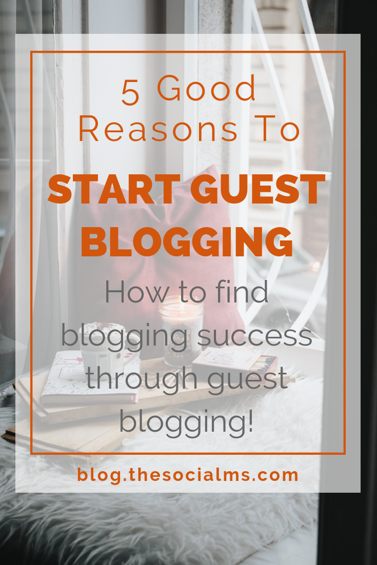 Here are 5 great reasons to start guest blogging. Decide why what you want to achieve and optimize your posts and everything around them for your goals. Guest blogging can be your fast track to blogging success! #bloggingtips #startablog #bloggingsuccess #bloggingforbeginners