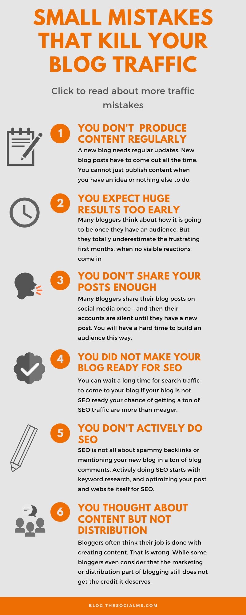 The number one reason why bloggers give up, is because they fail to get enough readers to their blog. Here are some major things what a ton of newbie bloggers – and even some established blogs get wrong that kills their chance for blog traffic. #blogtraffic #trafficgeneration #blogging1ß1 #blogdistribution #bloggingforbeginners #startablog #bloggingmistakes #bloggingtips