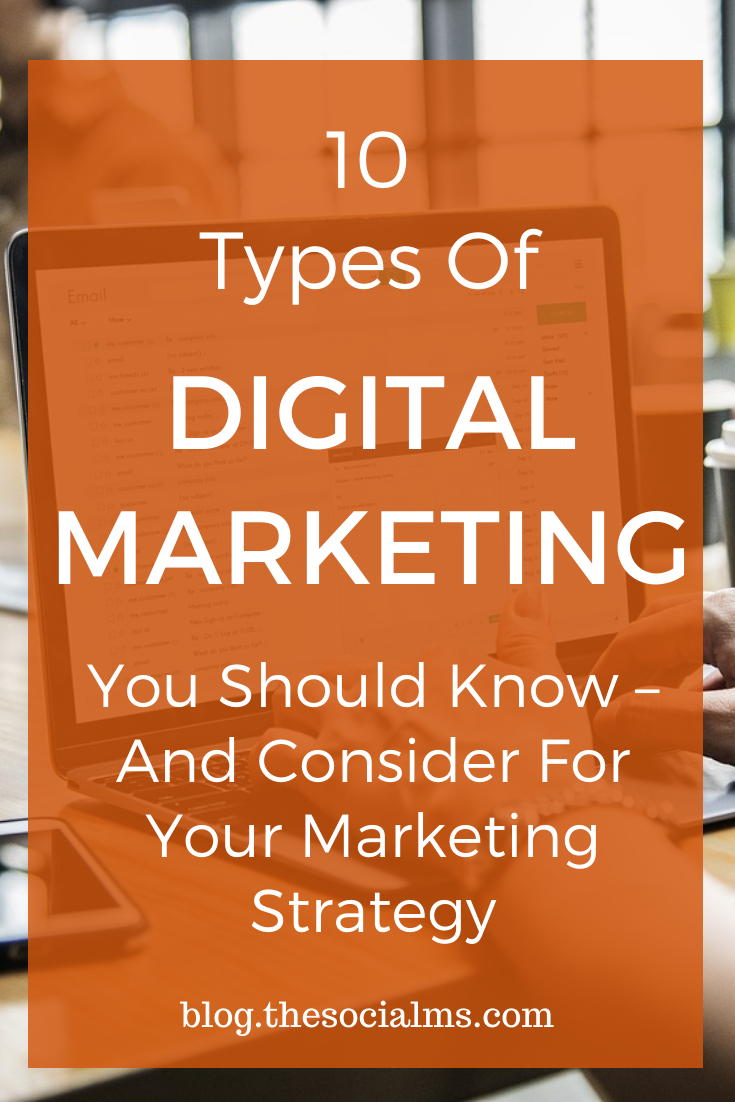 "To give you a thorough understanding of what the term ""Digital marketing"" includes, here are the 10 most important types of digital marketing. And you should make sure that you know about all of them before you decide what types of marketing you are going to include in your digital marketing strategy. #digitalmarketing #onlinemarketing #digitalstrategy #onlinebusiness"
