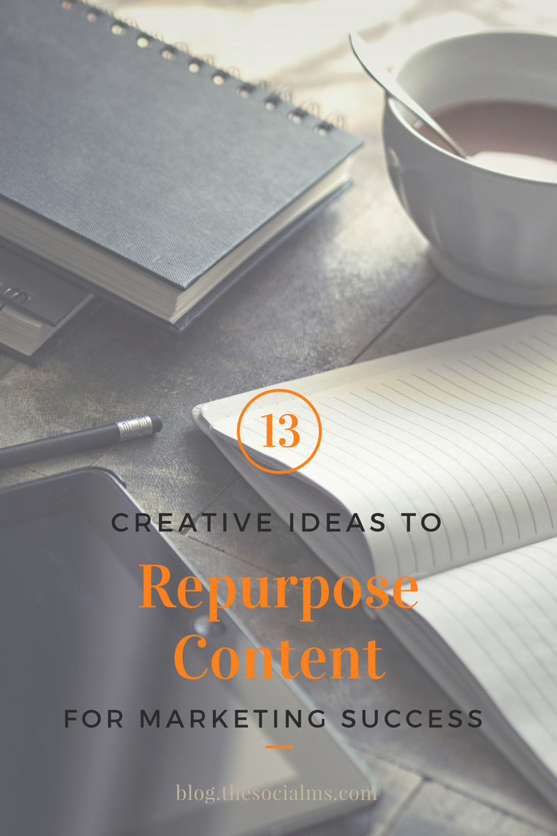 Repurposing content is a great way to be more efficient. Here are 13 ideas to repurpose content to create new content or bring new life to old content.