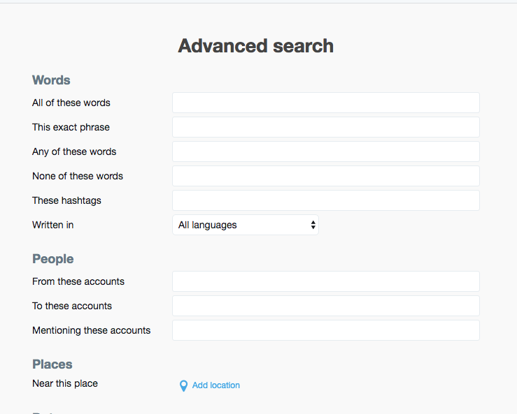 Twitter does have advanced search features that nobody seems to know about