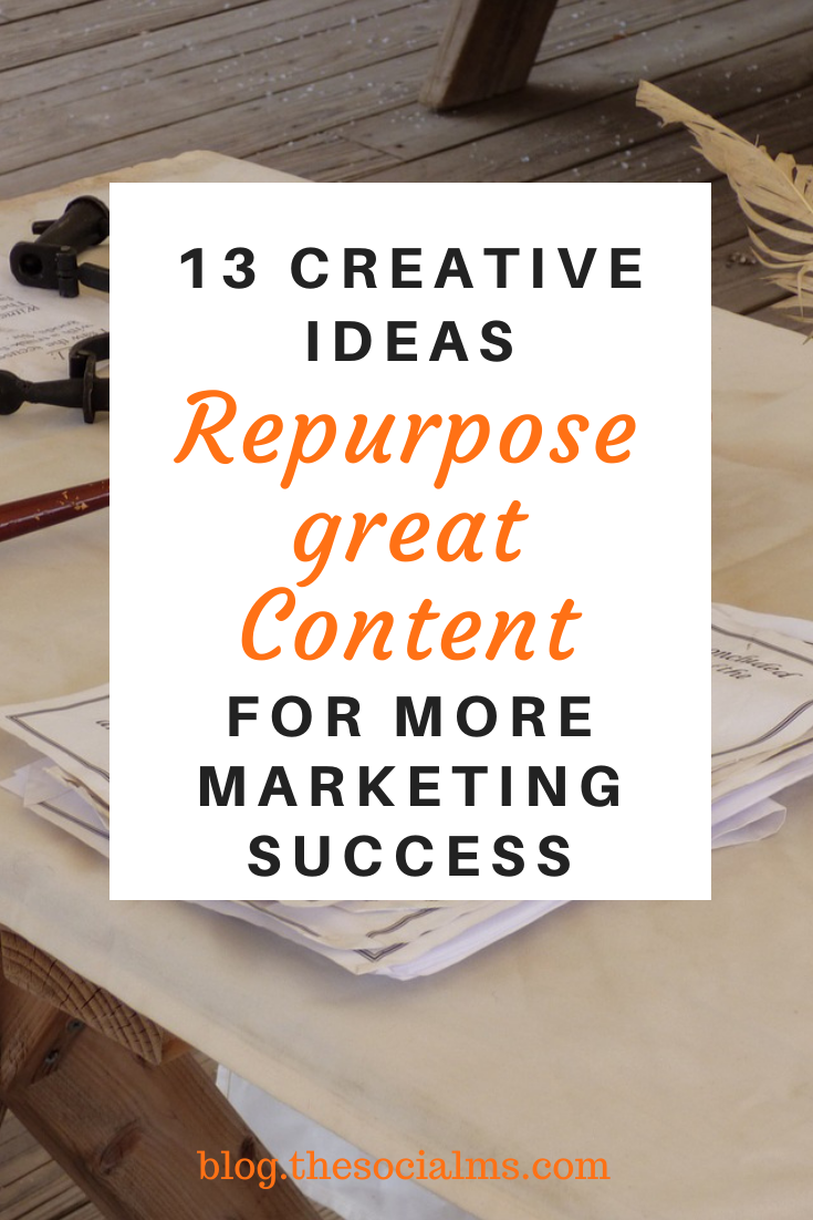 Repurposing content is a great way to be more efficient with content creation, to find new content ideas and bring new life to older content. #contentcreation #contentmarketing #bloggingtips #blogcontent #createcontent