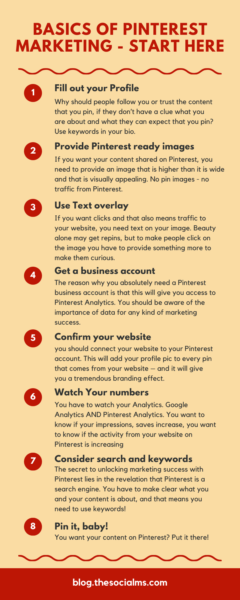There are some basics you need to do on Pinterest or you will not see any kind of measurable results. Here are 10 things you need to do before you can expect your Pinterest marketing to take off. To get traffic from Pinterest, get these right #pinterest #pinteresttips #pinterestmarketing #pintereststrategy #socialmedia #socialmediatips #blogtraffic #trafficgeneration