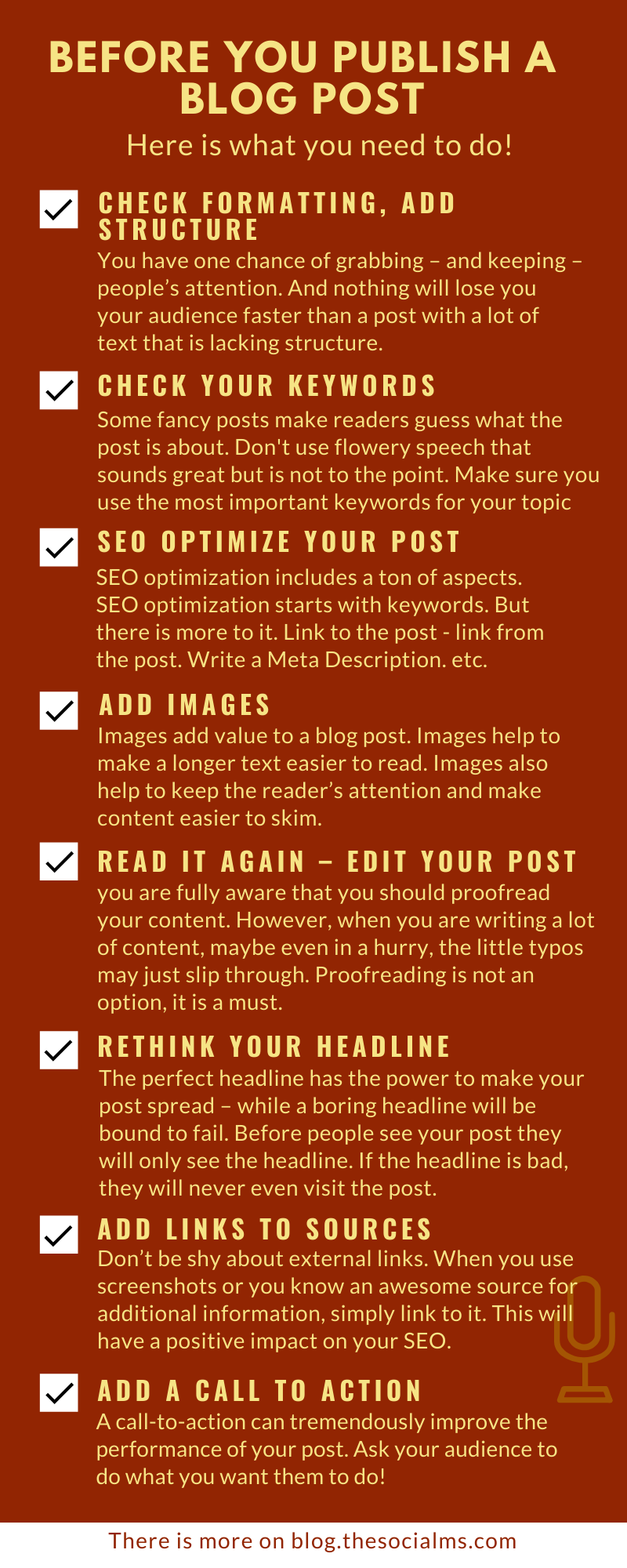 Blogging is not simply writing and publishing a text. Even if it is a good text. A good blogger has a ton of tasks that already start long before the blogger even starts to write a blog. here are some things you absolutely need to do BEFORE you publish a blog post. #bloggingtips #blogwriting #blogpostcreation #blogcontent #blogging101 #bloggingforbeginners #startablog