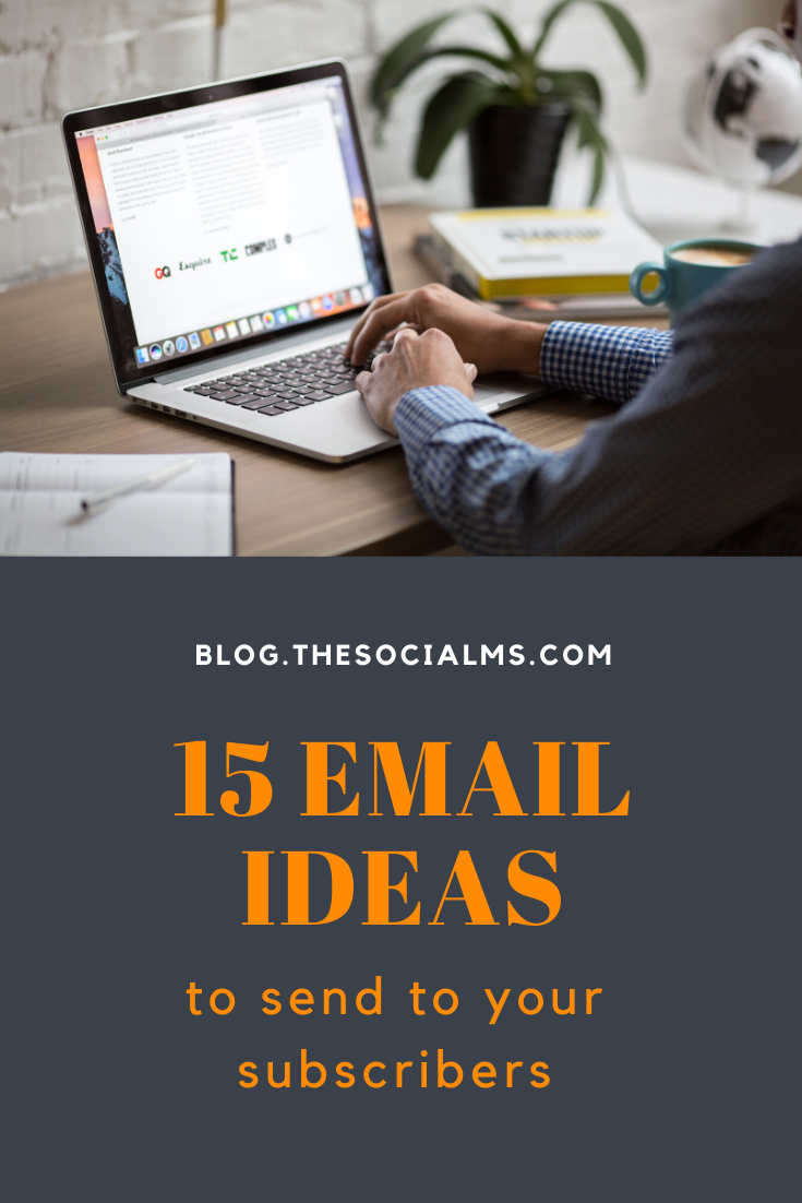 Many new bloggers and businesses are soo afraid of annoying their subscribers that they fail to utilize the full power of their list. and then they do not have enough ideas for emails they can send. Here are some ideas for your emails to help you out. #emailmarketing #salesfunnel #newsletter #listbuilding #leadnurturing #emaillist