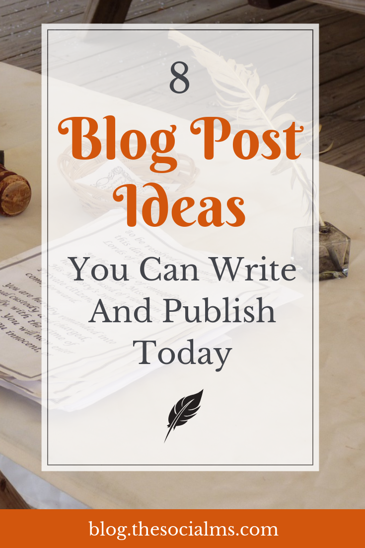 Here are 8 blog post ideas for posts that you will be able to create, even if your creativity is on holiday or you have a mild version of writer's block. Some types of blog posts can help you to fill your blog with new content when you do not have much time. blog creation, blog posts #bloggingtips #bloggingforbeginners #blogposts #startablog
