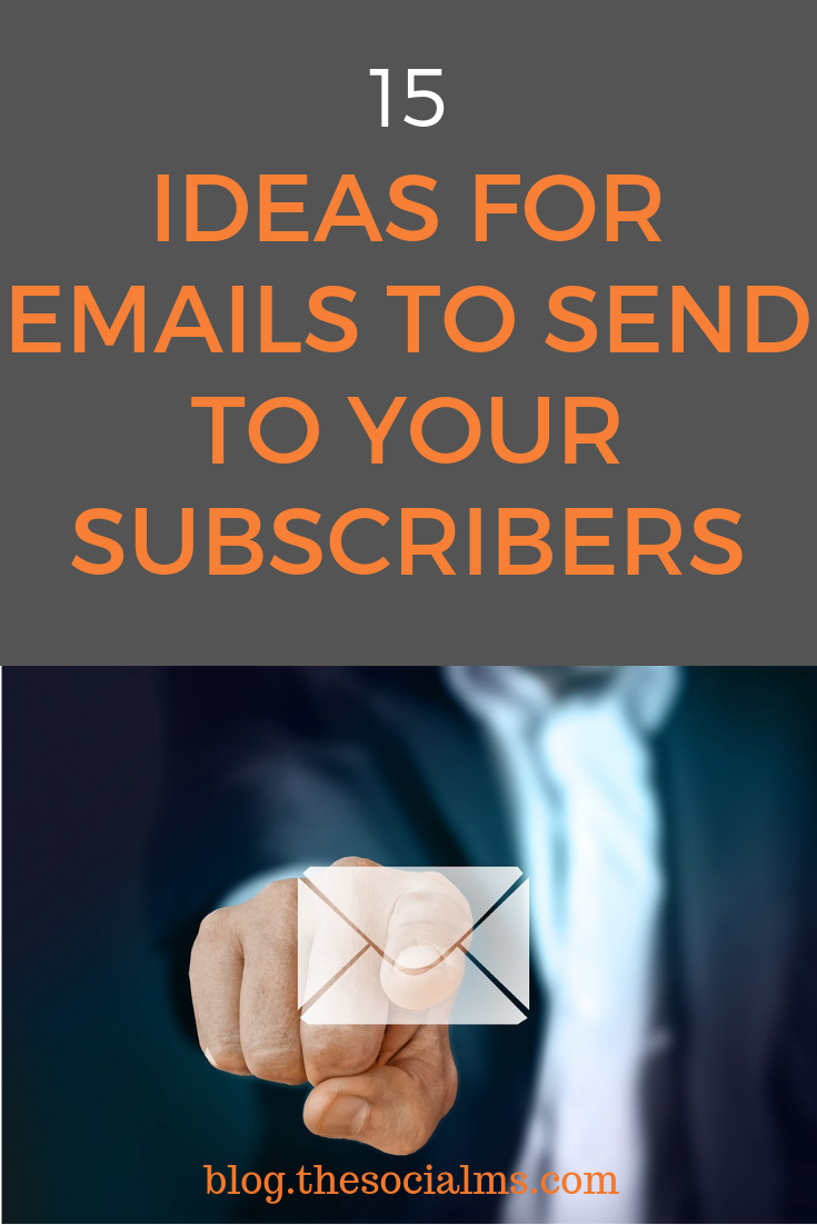 Are you running out our ideas what you can send to your email subscribers? Here are some email ideas to keep your email audience interested and entertained. Make your email newsletter am interesting piece of content. #emailmarketing #newsletters #listbuilding #emailnewsletter #blogsubscribers #bloggingtips