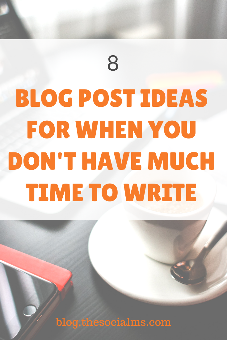 You don't have much time, but your blog needs a new post? Here are 8 blog post ideas that you can create any time if do your homework #blogpostideas #blogcreation #blogwriting #blogpostcreation #contentcreation #bloggingtips