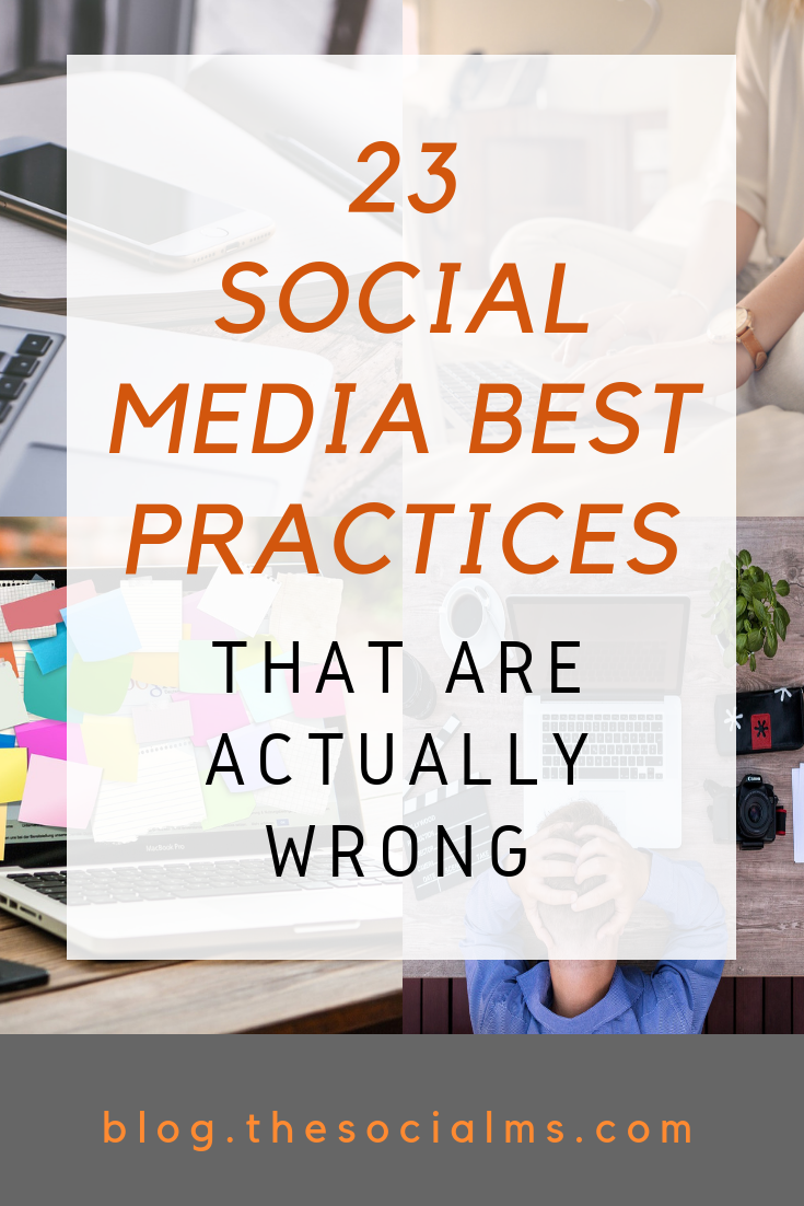 Some of the social media best practices that you can find are horribly outdated and often simply wrong. These social media myths can hurt your social media marketing. Don't make these social media mistakes - #socialmediamarketing #socialmediatips #socialmediamistakes #marketingmistakes