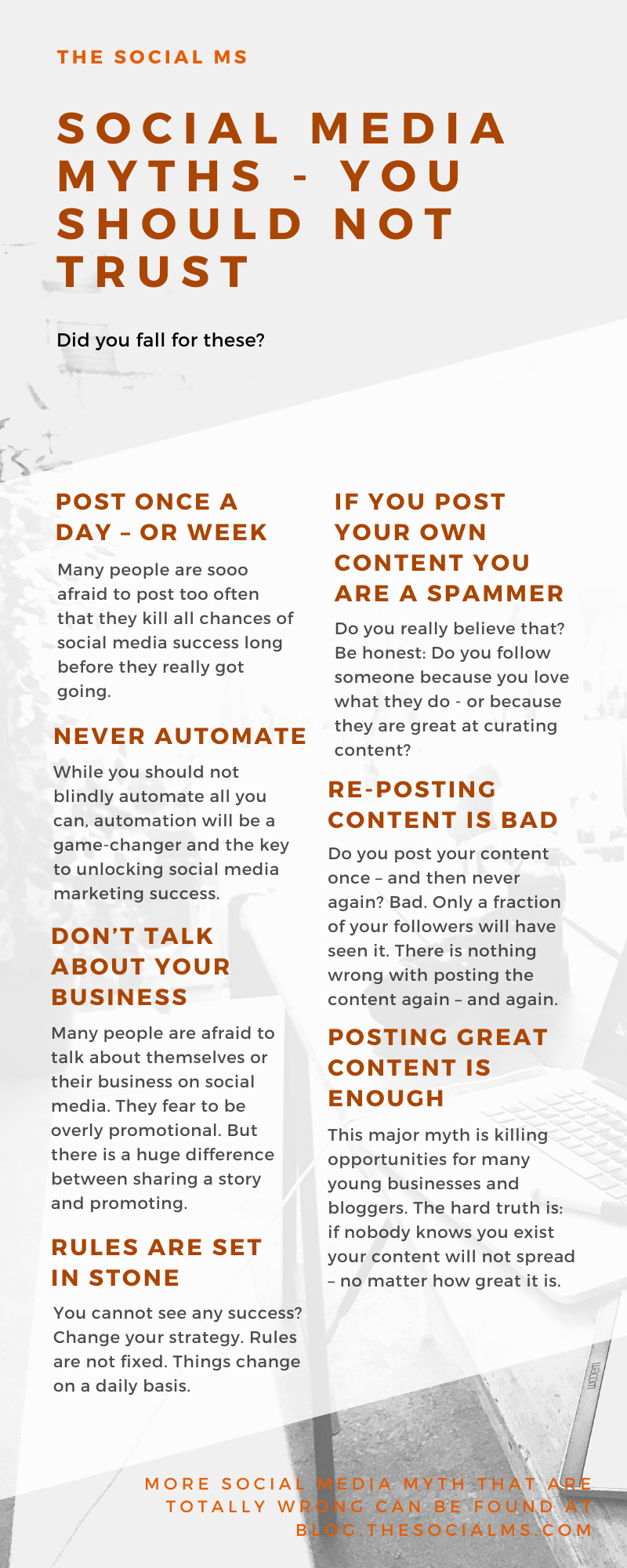 There is a lot of social media advice out there that is outdated or even plain wrong. Here are some common myths about online and social media marketing that you should better ignore. #socialmedia #socialmediamistakes #socialmediamarketing #socialmediatips #socialmediaadvice
