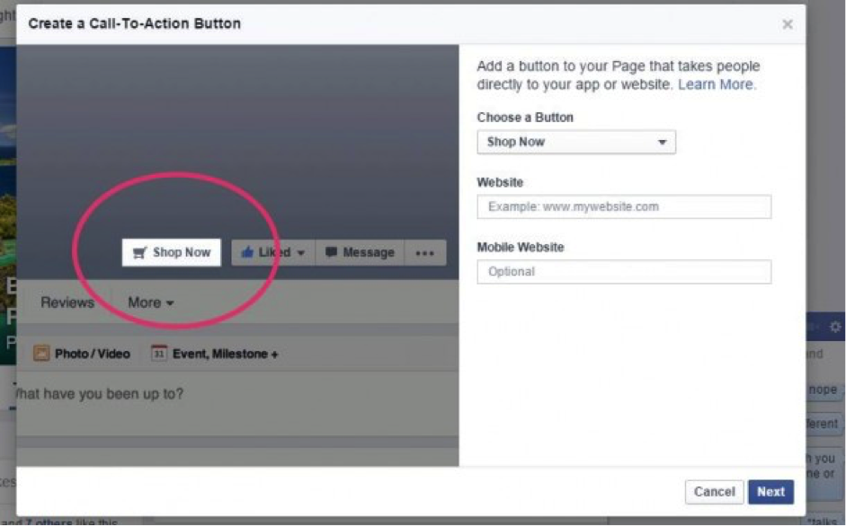 how to add learn more button on facebook page