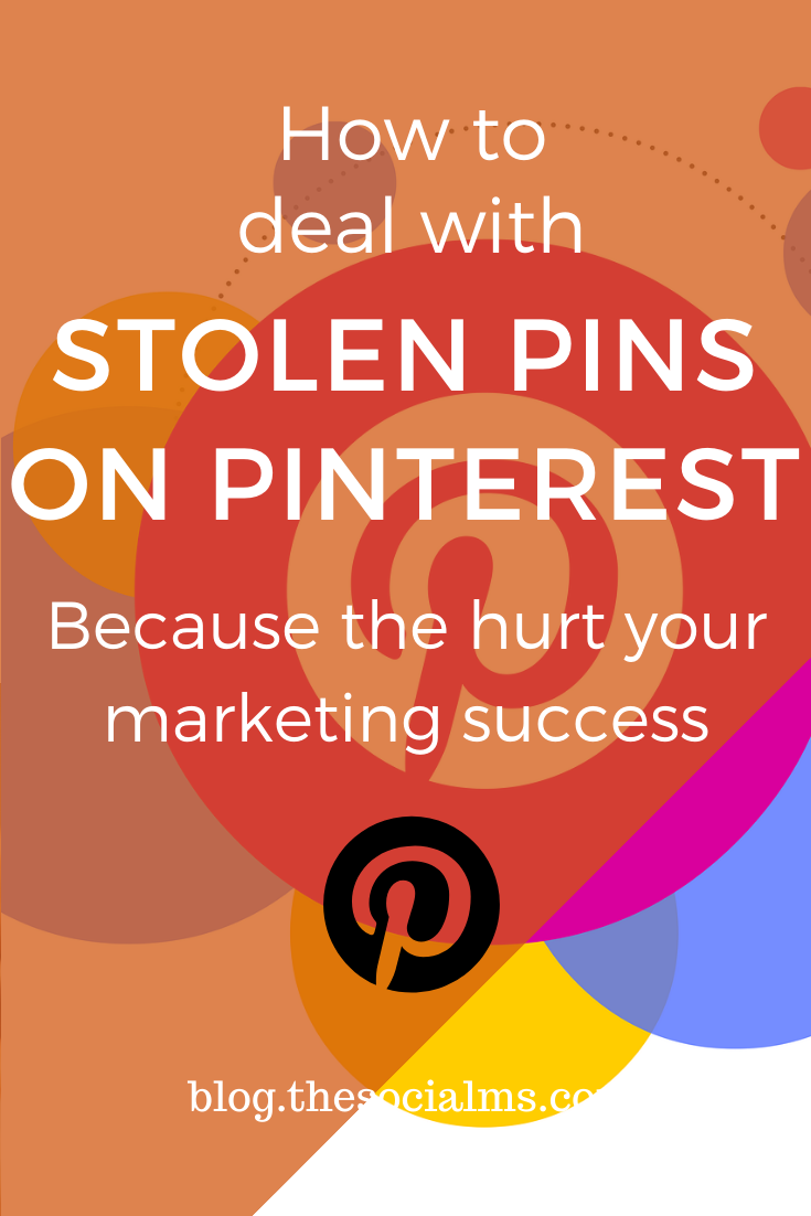 There is an increasing problem on Pinterest: Stolen pins. These stolen pins can seriously hurt your marketing and traffic success. Here is what you need to know and how you should deal with stolen pins on Pinterest. #pinterest #pinteresttips #pinterestmarketing #socialmedia #blogtraffic #socialmediatips #socialmediamarketing