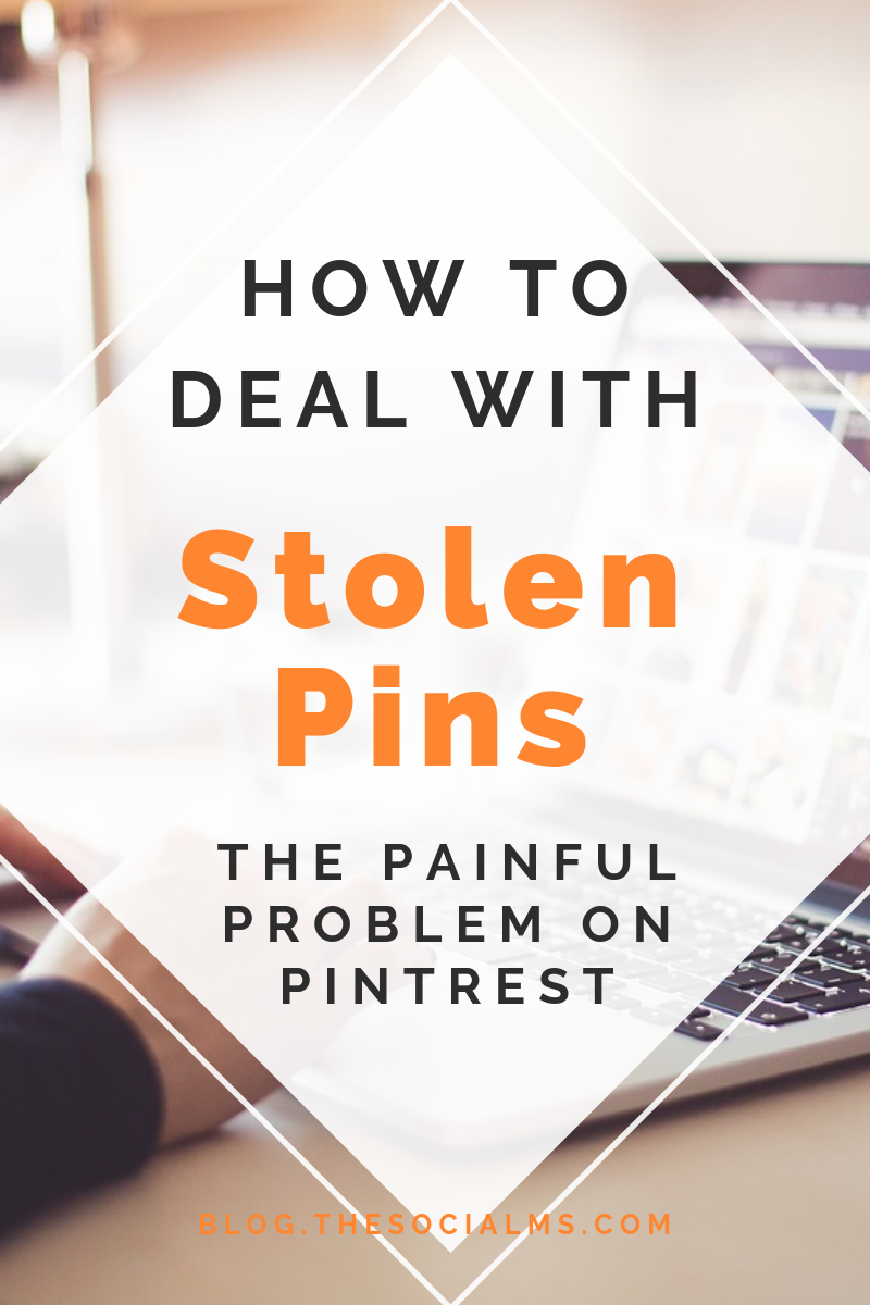 On Pinterest there is a uggly problem of stolen pins. Here is how to find them, how to have them removed - and how to do your part to have the thieve stopped.  #pinterest #stolenpins #reportpins #pinbetter #pintereststrategy #pinterestproblems