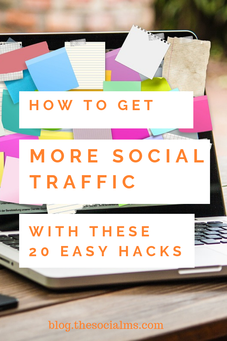 Are you looking for more social traffic? Do you need to boost your traffic generation? Here is a list of tweaks and hacks that will help you get more blog traffic from social media. #trafficgeneration #blogtraffic #socialmediatraffic #socialmediatips #socialmediaforbloggers