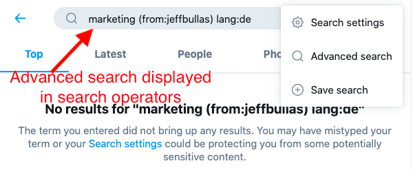 Twitter advanced search displayed as search operators