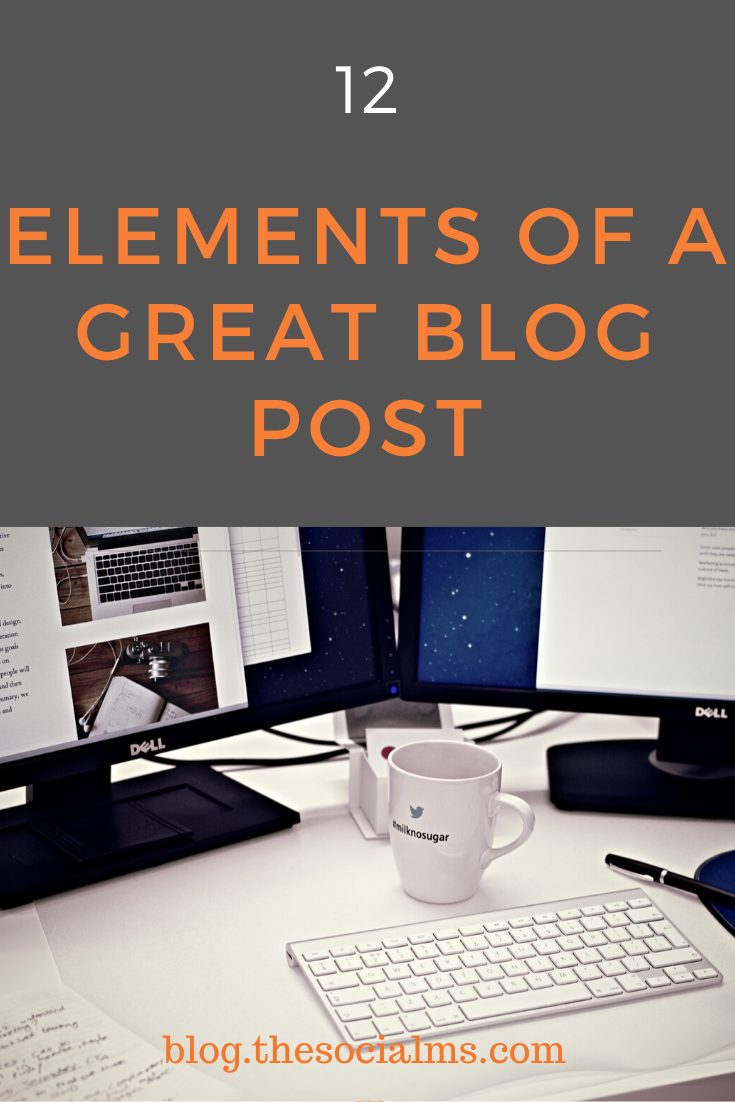 Here are the necessary elements of a great blog post and how you can make sure to give your blog posts the best start they can have #startablog #blogging101 #blogwriting #blogpostcreation #bloggingforbeginners #bloggingtips