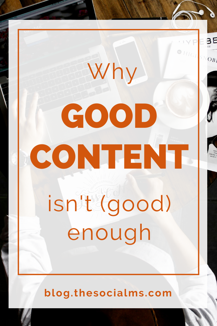 """""""Good content rises to the top."""" No, it doesn't. Today we have to fight hard to get eyes on our content. Here is why good content isn't good enough anymore and what you need instead #contentcreation #contentmarketing #bloggingtips #blogpromotion #bloggingforbeginners #startablog"""