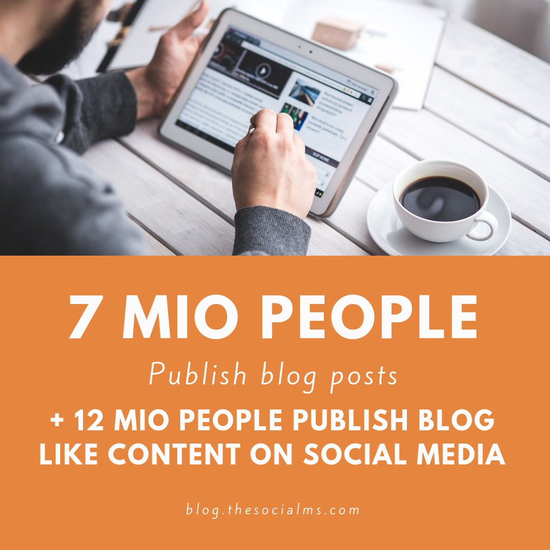 7 mio people publish blog posts another 12 mio publish blog like content on social media