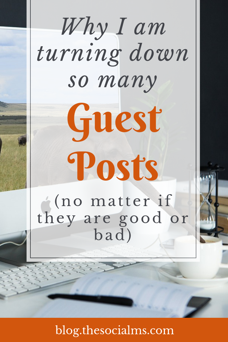 I love guest posts. But I admit that I have been ignoring or turning down more and more guest post submissions that we get. Here is why. guest blogging tips, guest blogging opportunity, how to get a guest post published #guestblogging #bloggingtips #bloggingforbeginners #seo